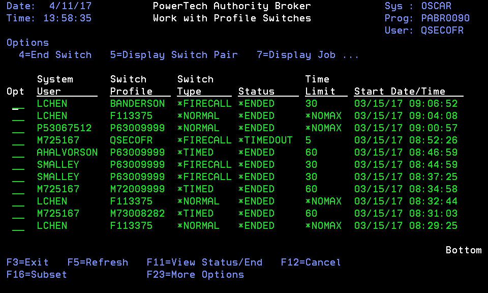 Work With Profile Switches screen